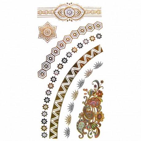 tatouages-bijoux-ephemeres-dore-et-argent-graphiques-et-fleurs