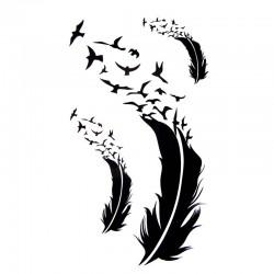 Tatouage temporaire plume et oiseaux