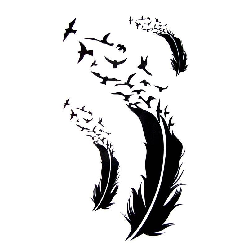 tatouage temporaire plume et oiseaux. Black Bedroom Furniture Sets. Home Design Ideas
