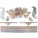 Tatouage bijou éphémère métallique fleur, plume et graphique