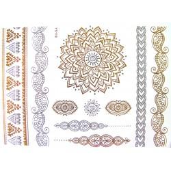 Acheter tatouage or et argent tatouage dor femme tatouage bijoux 2 tempo tattoo - Tatouage ephemere dore ...