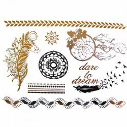 tatouage-bijou-ephemere-dore-et-argent-attrape-reves-et-plume