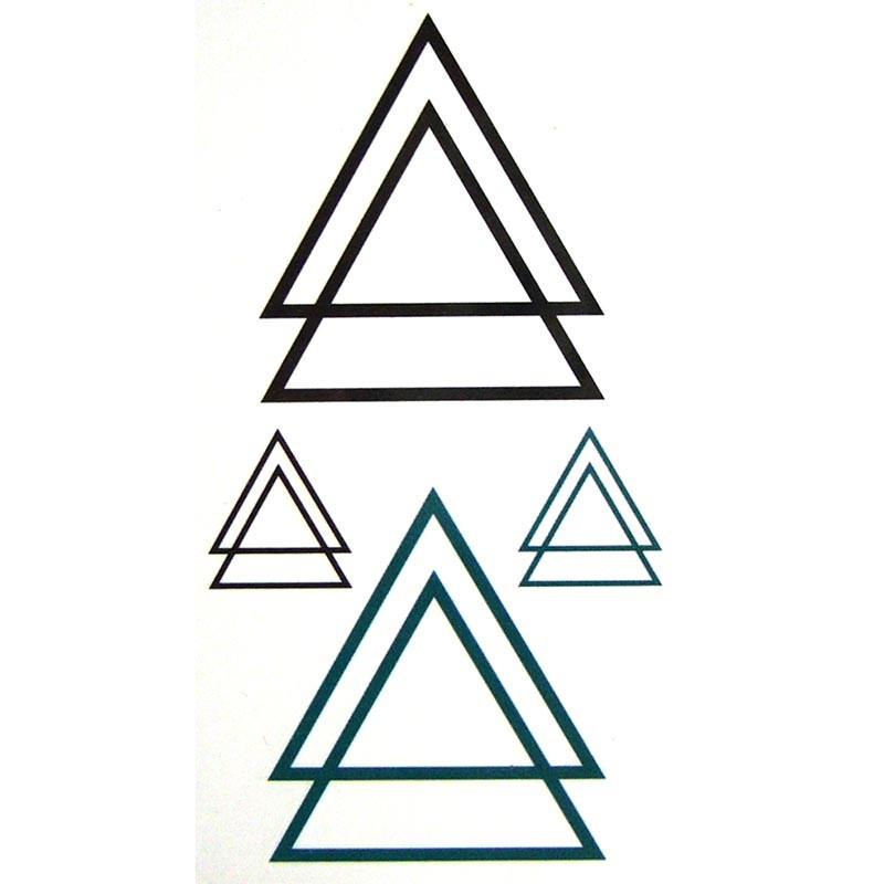Tatouage temporaire Triangle Géométrique Ensemble de tatouages temporaires,  pour homme et femme, composé de triangles graphiques. Cette planche est  composée