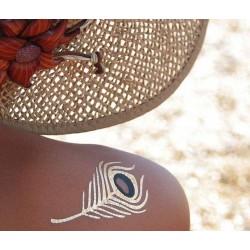 Tatouages éphémères dorés et argentés plume de paon
