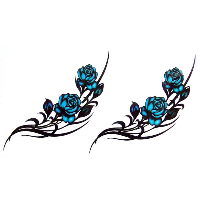 Tatouage temporaire tatouage ephemere tatouage rose bleue - Tatouage rose bleu ...