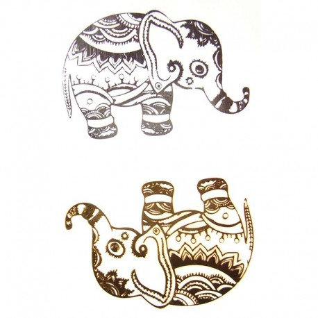 tatouage-ephemere-dore-et-argent-elephants